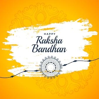 Szczęśliwy raksha bandhan żółte tło pozdrowienia