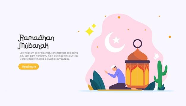 Szczęśliwy ramadan mubarak pozdrowienia koncepcja z charakterem ludzi