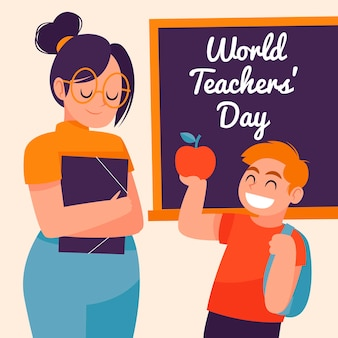 Szczęśliwy ręcznie rysowane ilustracja dzień nauczyciela