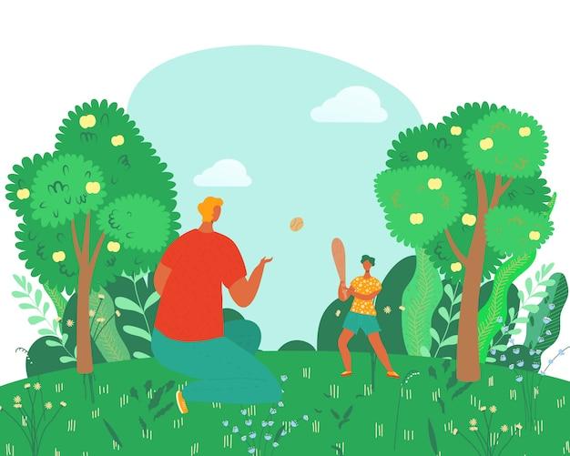 Szczęśliwy rodzina odpoczynek w lecie, ojciec bawić się z synem w naturze, na zewnątrz wsi kreskówki ilustraci. rodzina z dziećmi w kraju.