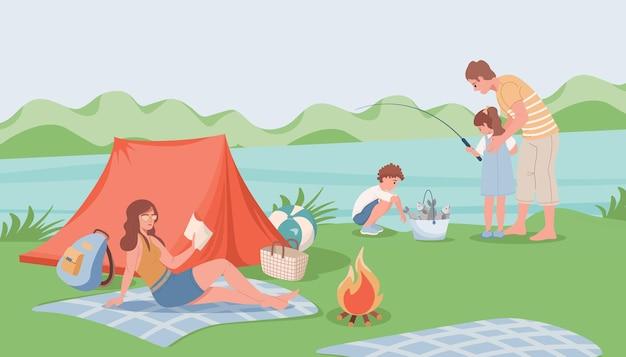 Szczęśliwy rodzinny kemping ilustracja projekt