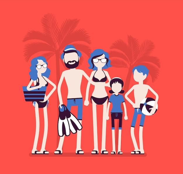 Szczęśliwy rodzinny odpoczynek w ośrodku. rodzice i dzieci w strojach kąpielowych odpoczywają na wakacjach, grupa turystów w ciepłych wiejskich podróżach lubi pływać, nurkować i opalać się.