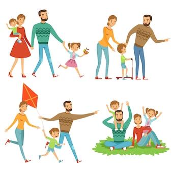 Szczęśliwy rodzinny odprowadzenie w parku.