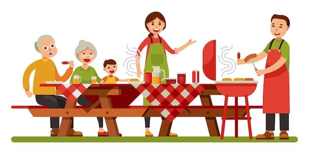 Szczęśliwy rodzinny pykniczny grilla grill w plenerowym pyknicznym stołowym nowożytnym mieszkanie stylu wektoru illust