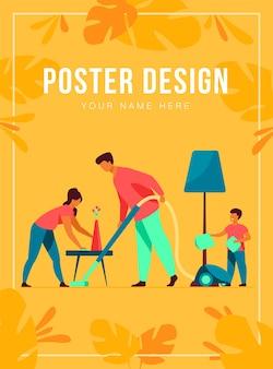Szczęśliwy rodzinny sprzątanie razem szablon plakatu