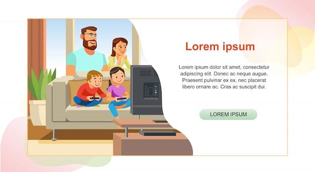 Szczęśliwy rodzinny strony internetowej kreskówki wektoru szablon