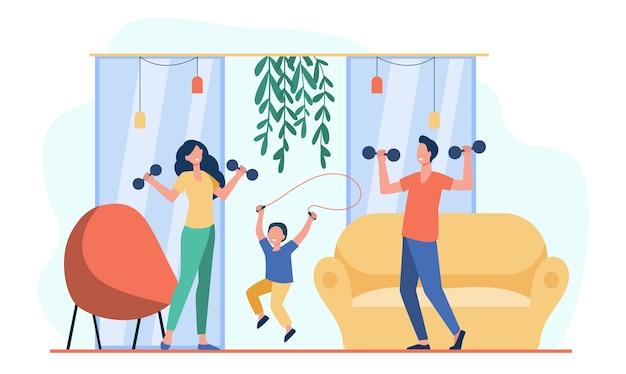Szczęśliwy rodzinny trening razem płaska ilustracja.