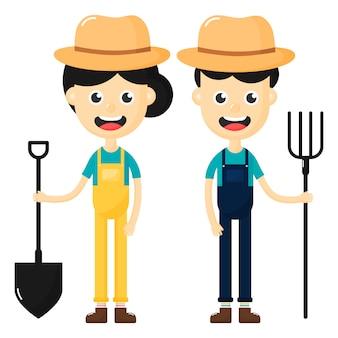 Szczęśliwy rolników mężczyzny i kobiety postać z kreskówki na białym tle.