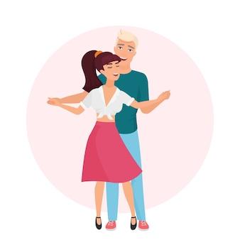 Szczęśliwy romantyczny mężczyzna i kobieta. czas razem. para tańczy w ilustracji miłości