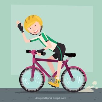 Szczęśliwy rowerzysty tle