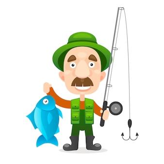 Szczęśliwy rybak charakter przytrzymaj dużą rybę.