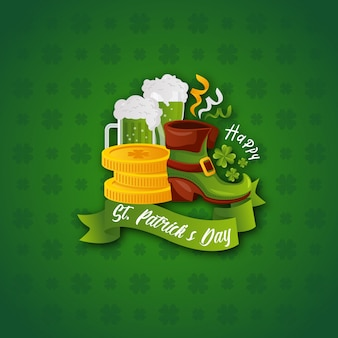 Szczęśliwy saint patrick's day greeting card illustration template