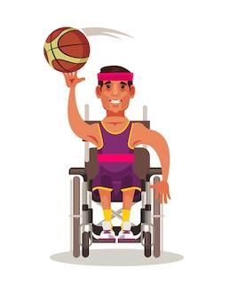 Szczęśliwy silny człowiek postać siedzi na wózku inwalidzkim i gry w koszykówkę. ilustracja kreskówka koncepcja zawodów paraolimpijskich