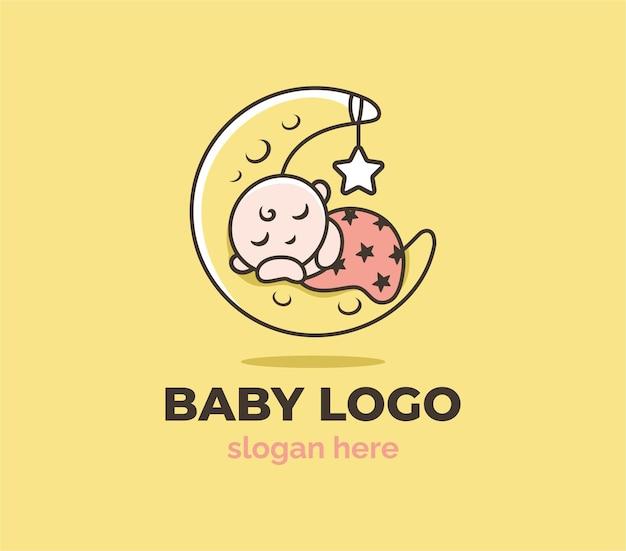 Szczęśliwy sklep dla dzieci z szablonem logo księżyca i gwiazdy