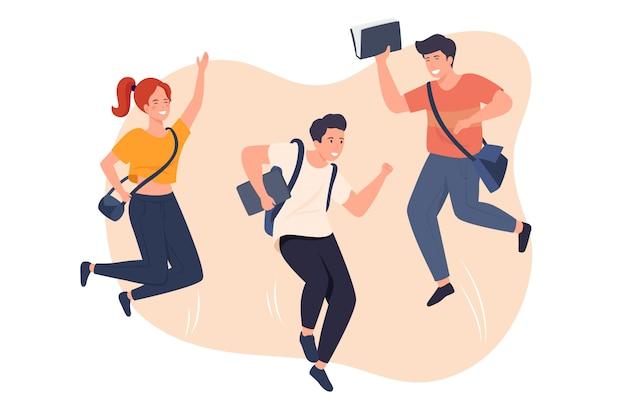 Szczęśliwy skok urzędników płaska wektorowa ilustracja. tętniący życiem pracownicy firmy rysują postacie. młodzi studenci, mężczyźni i kobiety, ubrani od niechcenia, na białym tle clipart. różnorodne grupy ludzi.