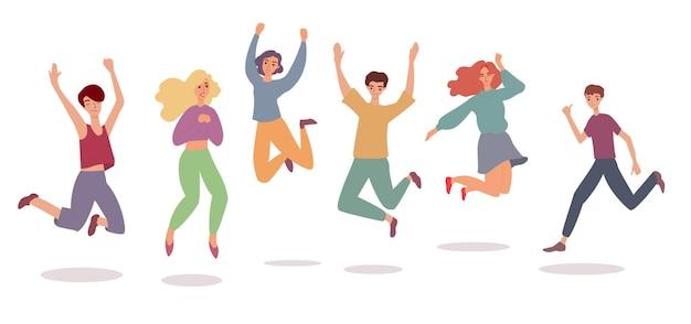 Szczęśliwy skok zestaw wesołych młodych ludzi skaczących w powietrzu ze szczęścia