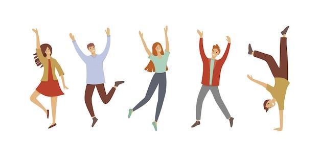 Szczęśliwy skoki biuro młodych ludzi ikona. kreskówka szczęśliwych skaczących biurowych młodych ludzi wektor ikona do projektowania stron internetowych na białym tle
