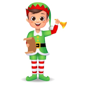 Szczęśliwy śliczny chłopiec dziecko ubrane w sukienkę elfa z dzwonkiem i literą