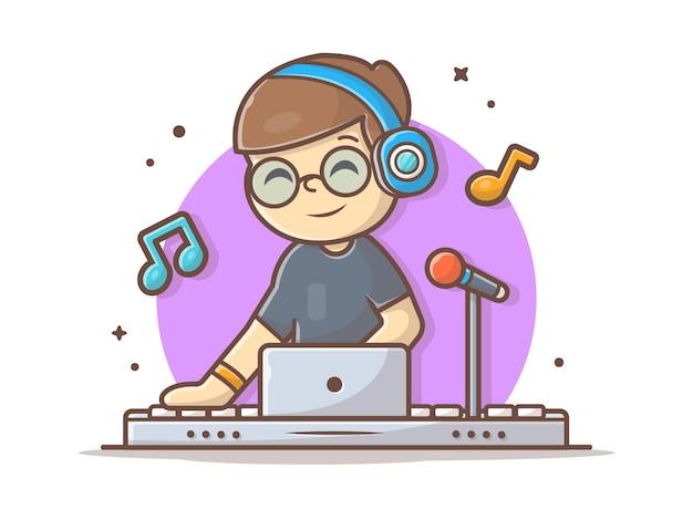 Szczęśliwy śliczny dyskdżokej występ z hełmofon ikony ilustracją. elektroniczna muzyka taneczna biały na białym tle