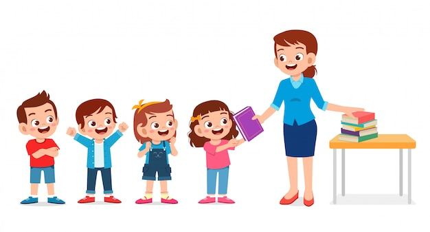 Szczęśliwy śliczny nauczyciel daje książce uczniom
