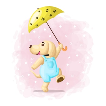 Szczęśliwy śliczny pies z parasolowym ilustracyjnym wektorem
