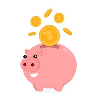 Szczęśliwy śliczny śmieszny uśmiechnięty prosiątko bank z monetą.