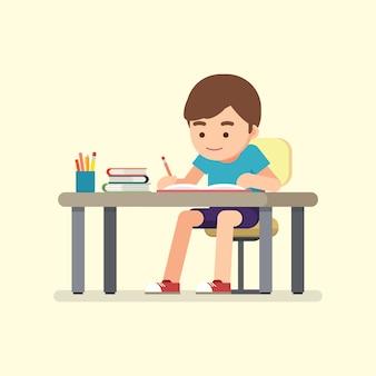 Szczęśliwy śliczny szkolnej chłopiec writing dla pracy domowej, nauki pojęcie, wektorowa ilustracja.