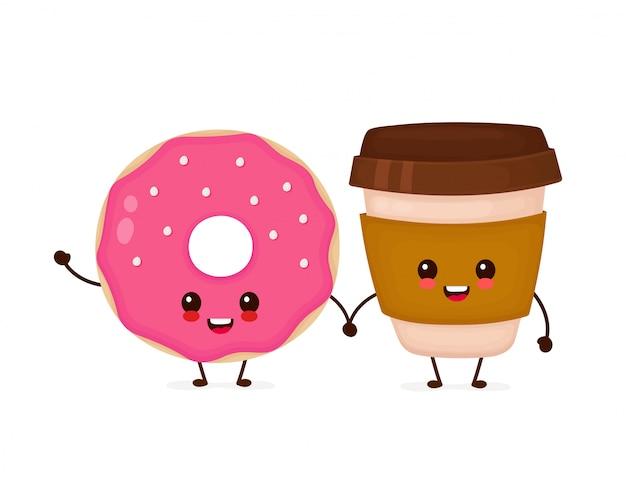 Szczęśliwy śliczny uśmiechnięty pączek i kawowa papierowa filiżanka. ikona ilustracja kreskówka płaski charakter. na białym tle ładny charakter pączka i kawy