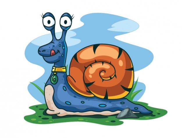 Szczęśliwy ślimak charakterze ilustracji wektorowych