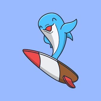 Szczęśliwy słodki delfin macha ręką