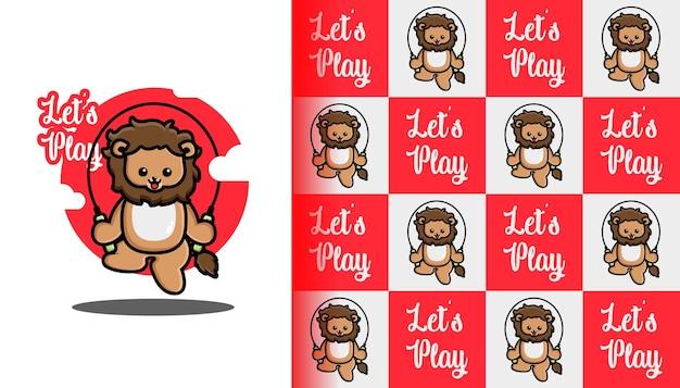 Szczęśliwy słodki lew gra na skakance z bezszwowym wzorem