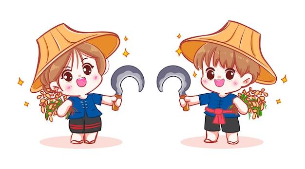Szczęśliwy słodki rolnik trzyma suchy ryż banner logo ilustracja kreskówka sztuki