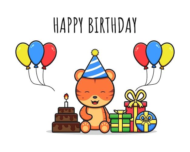 Szczęśliwy słodki tygrys urodziny kartkę z życzeniami ikona ilustracja kreskówka projekt na białym tle płaski styl kreskówki