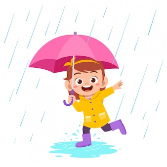 Szczęśliwy słodkie dziecko dziewczynka grać nosić płaszcz przeciwdeszczowy