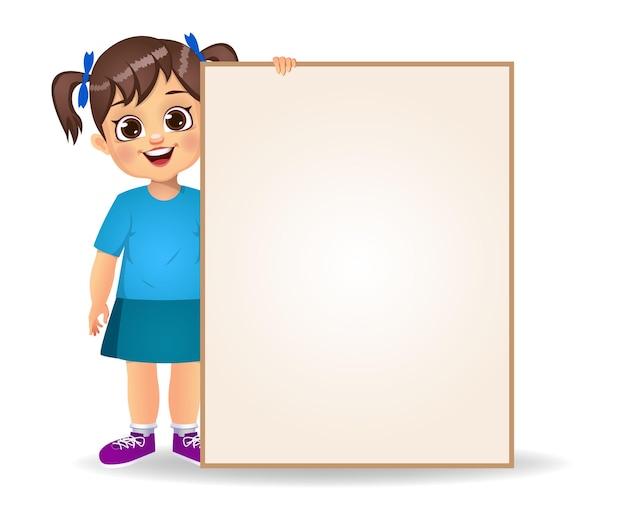 Szczęśliwy słodkie dziecko dziewczynka trzymając puste banery