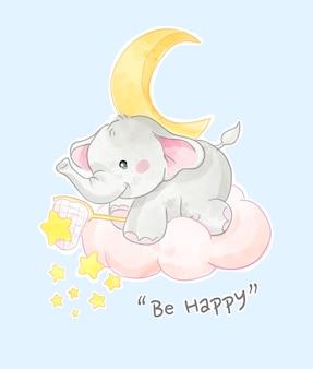 Szczęśliwy slogan ze słodkim słoniem z ilustracją gwiazd