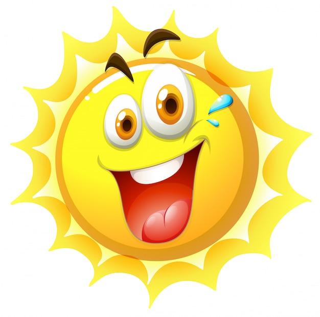 Szczęśliwy słońce na białym tle