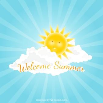 Szczęśliwy słońce tła na lato