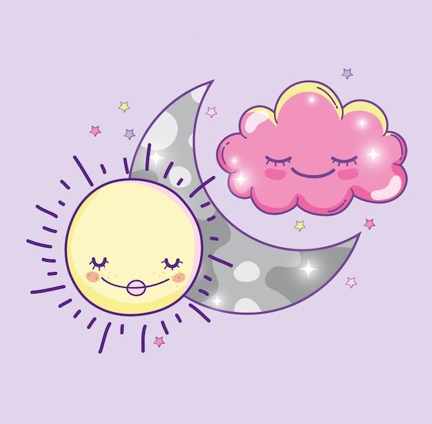 Szczęśliwy słońce z księżyc i śliczną puszystą chmurą