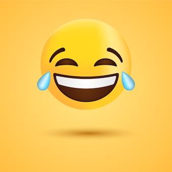 Szczęśliwy śmiech emoji ze łzami lub śmieszną emotikonką dla sieci społecznościowej