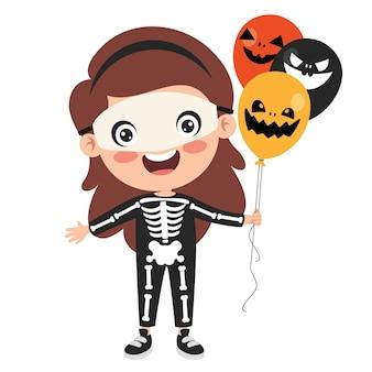 Szczęśliwy śmieszne dziecko świętuje halloween