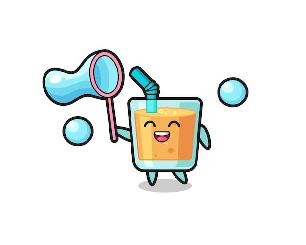 Szczęśliwy sok pomarańczowy kreskówka gra w bańkę mydlaną, ładny styl na koszulkę, naklejkę, element logo