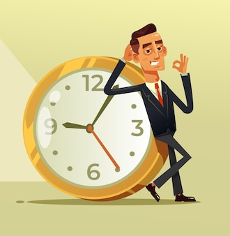Szczęśliwy spokojny biznesmen pracownik biurowy postać siedzi na dużym zegarze pokazując ok westchnienie zatrzymaj zegar czasu organizacji koncepcja ilustracja kreskówka płaska