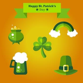 Szczęśliwy st patrick's day płaski zestaw ikon