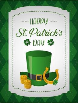 Szczęśliwy st patricks day kartkę z życzeniami, zielony kapelusz z monetami i podkowy