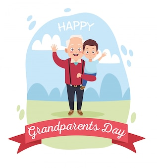 Szczęśliwy stary dziadek z małym wnukiem w obozie