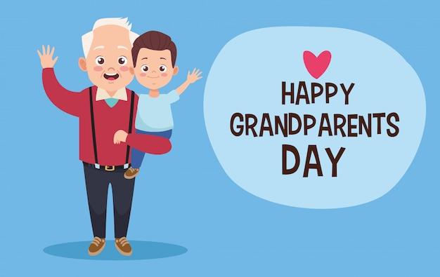 Szczęśliwy stary dziadek z małym wnukiem