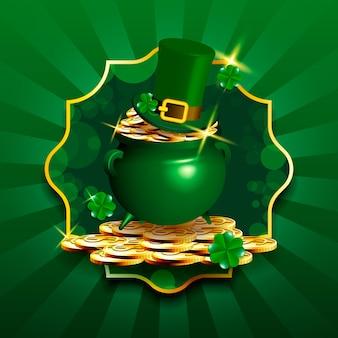 Szczęśliwy stos monet świętego mikołaja i kapelusz krasnoludka