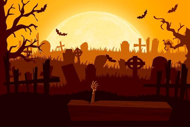 Szczęśliwy styl cięcia papieru halloween. koncepcja cmentarza. ilustracja wektorowa.