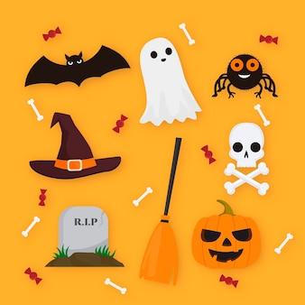 Szczęśliwy styl kolekcji elementu halloween